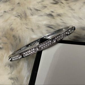 Silver Michael kors hinged bracelet with crystals